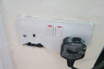 Damaged electrical socket